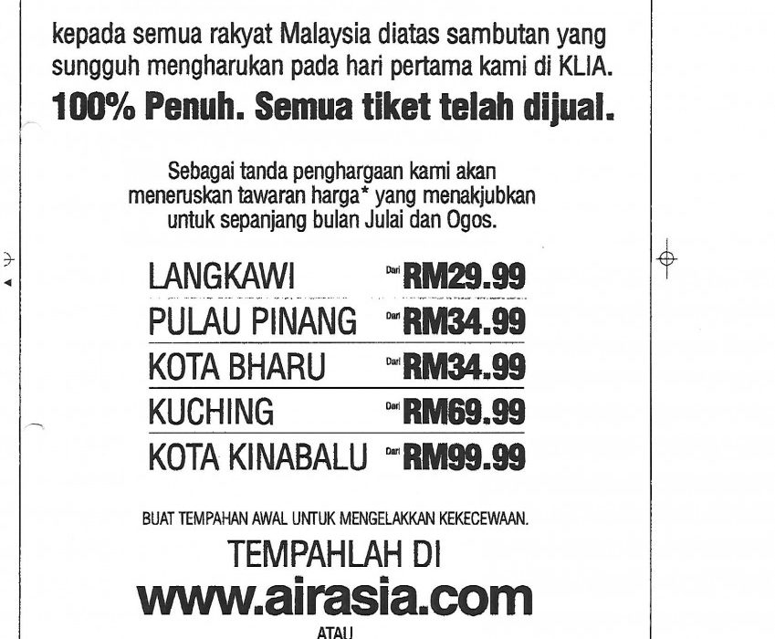 100% seats sold on our first day in KLIA.