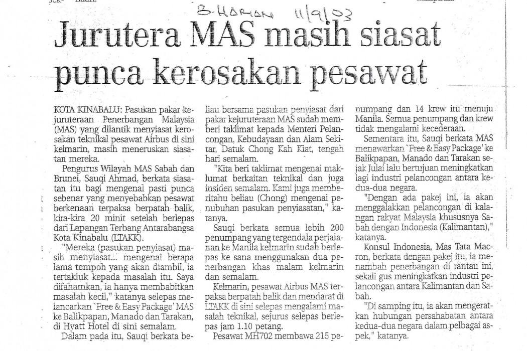 Jurutera MAS masih siasat punca kerosakan pesawat