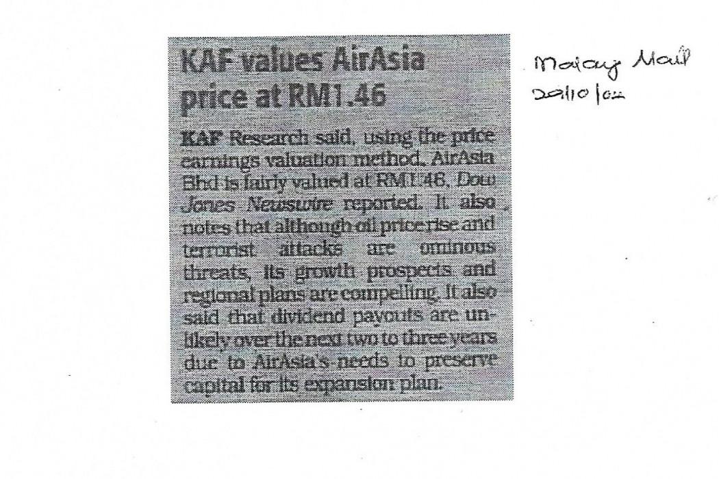 KAF values airasia price at RM1.46