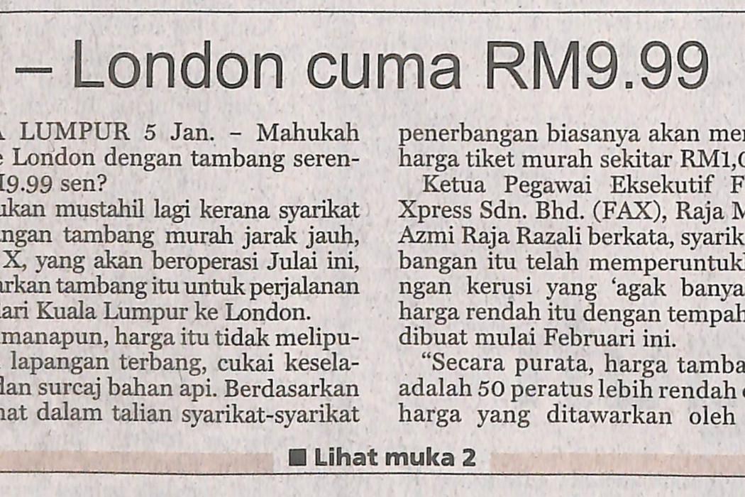 KL - London cuma RM9.99 - 01