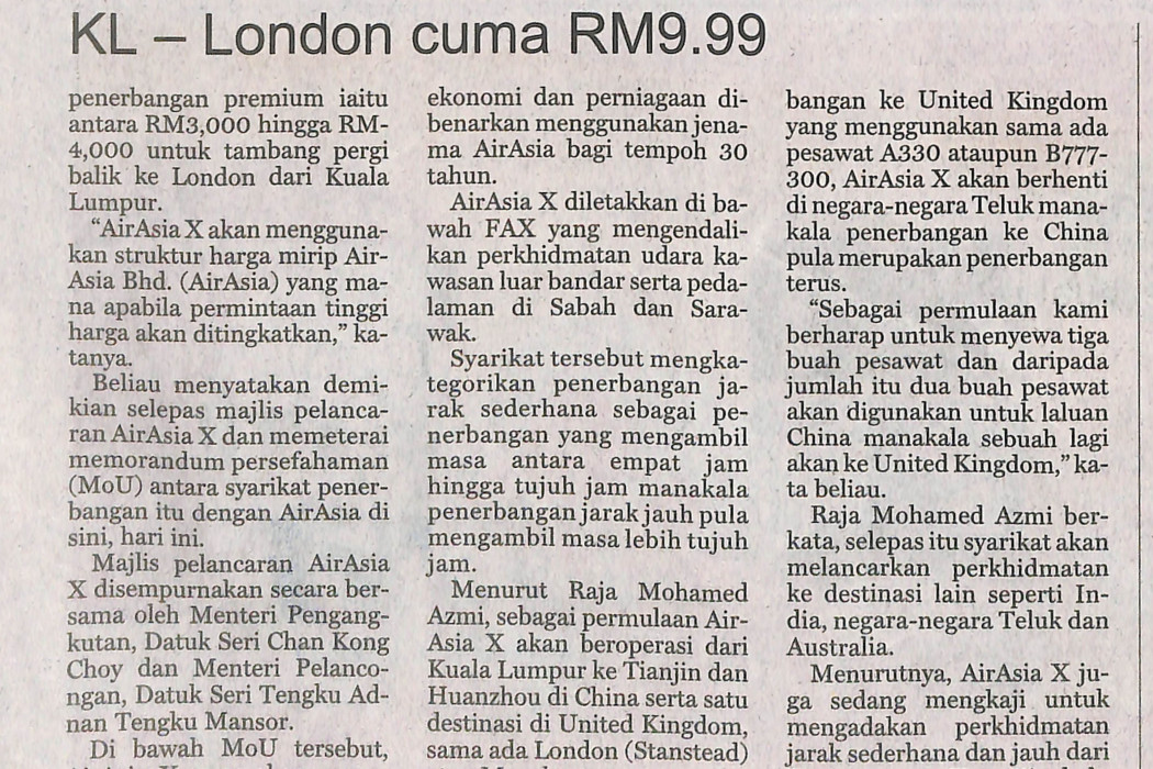 KL - London cuma RM9.99 - 02