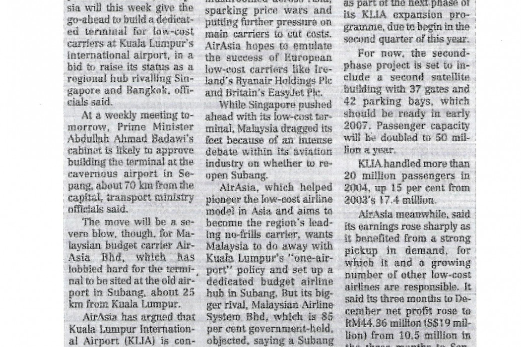 KL to approve low-cost KLIA hub; airasia upset