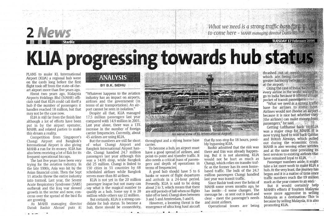 KLIA progressing towards hub status