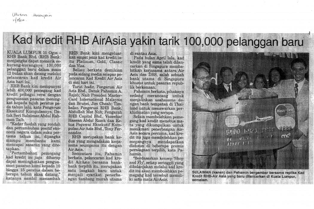 Kad kredit RHB airasia yakin tarik 100,000 pelanggan baru