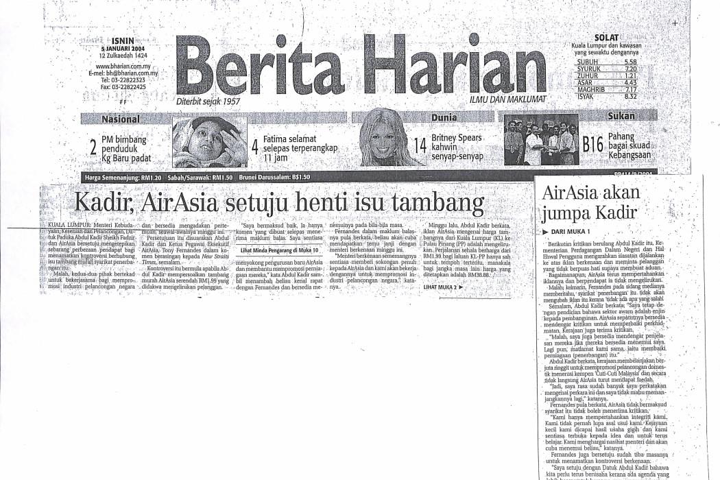 Kadir, airasia setuju henti isu tambang