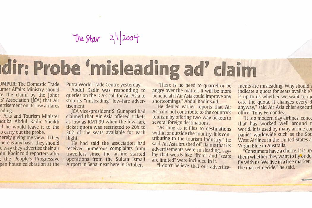 Kadir; Probe 'misleading ad' claim