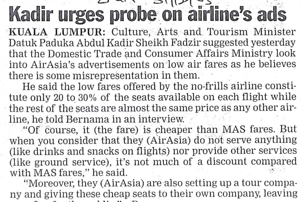 Kadir urges probe on airline ads