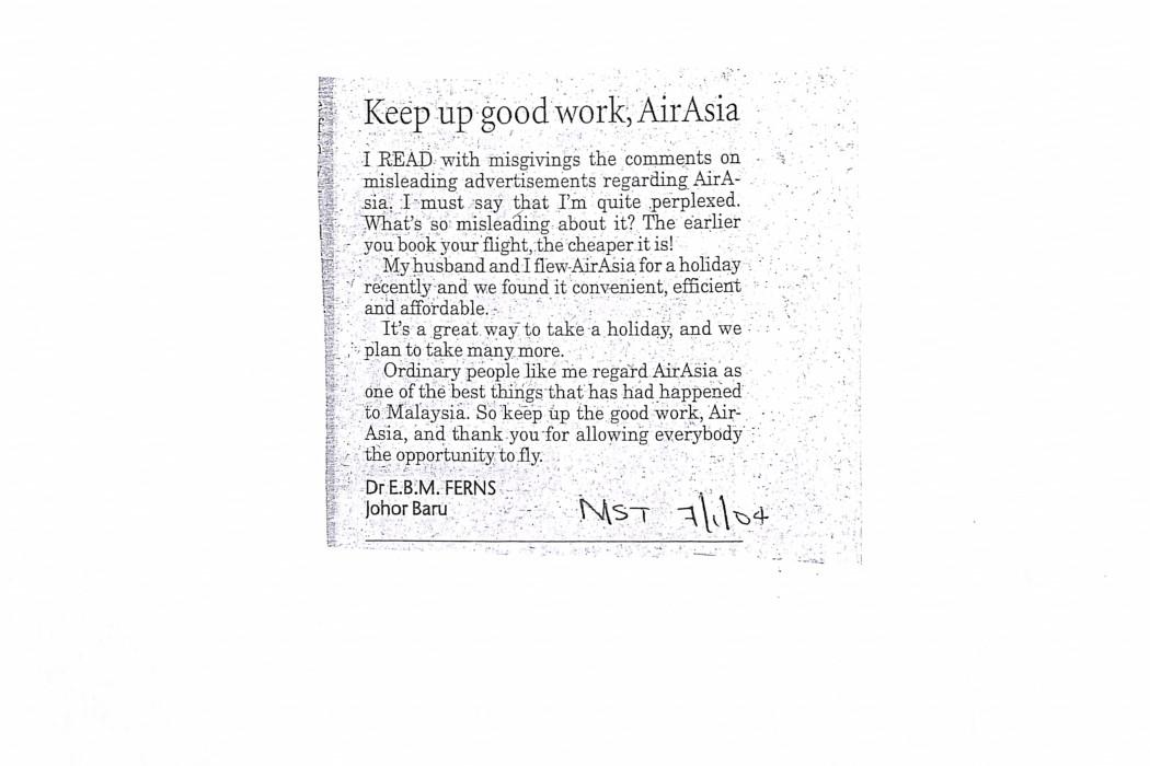 Keep up good work, airasia