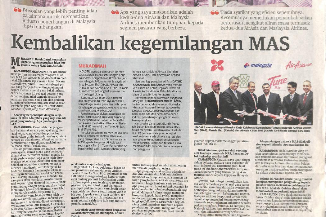Kembalikan kegemilangan MAS