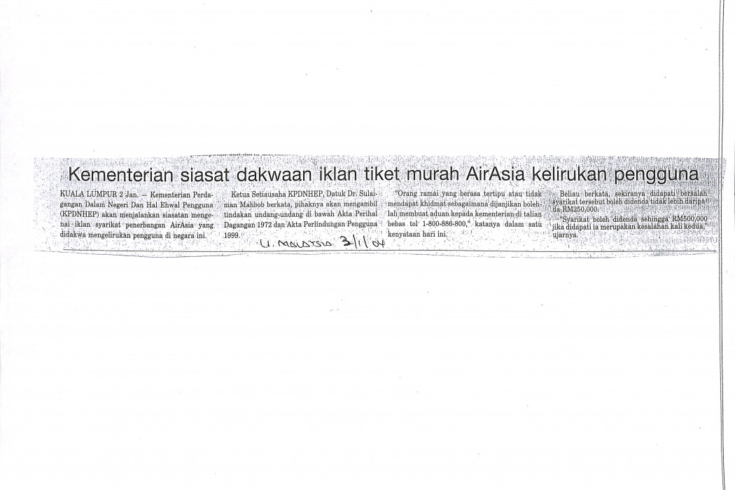 Kementerian siasat dakwaan iklan tiket murah airasia kelirukan pengguna