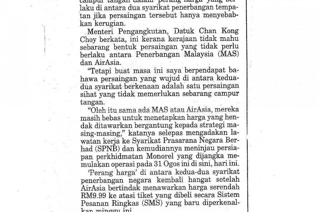 Kerajaan tidak mahu MAS, airasia 'perang harga'