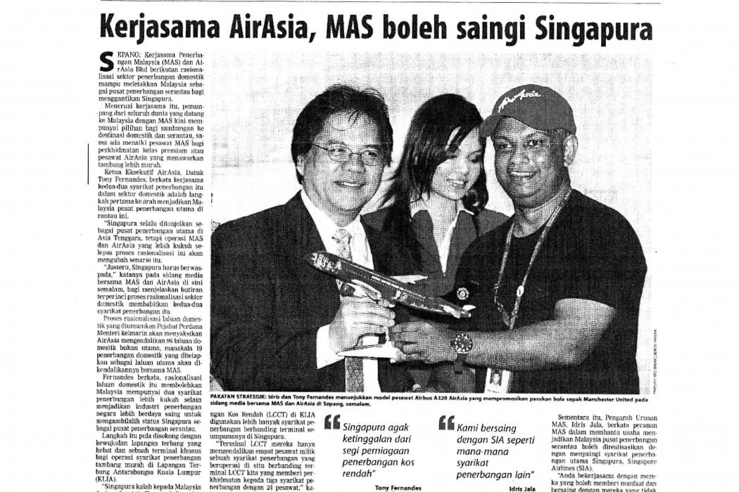Kerjasama airasia, MAS boleh saingi Singapura