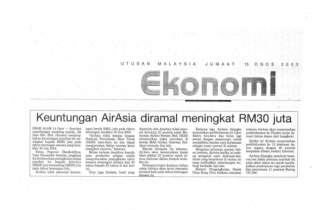 Keuntungan airasia diramal meningkat RM30 juta