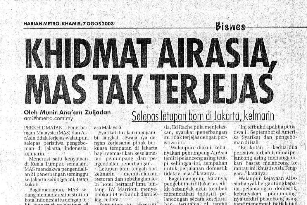 Khidmat airasia, MAS Tak Terjejas