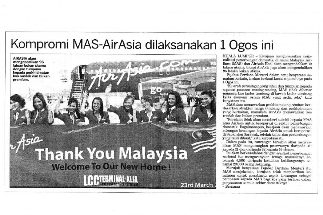Kompromi MAS-airasia dilaksanakan 1 Ogos ini