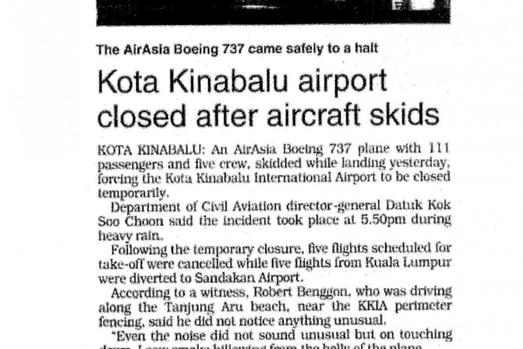 Kota Kinabalu airport closed after aircraft skids