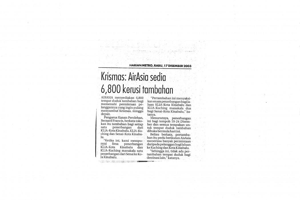 Krismas airasia sedia 6,800 kerusi tambahan