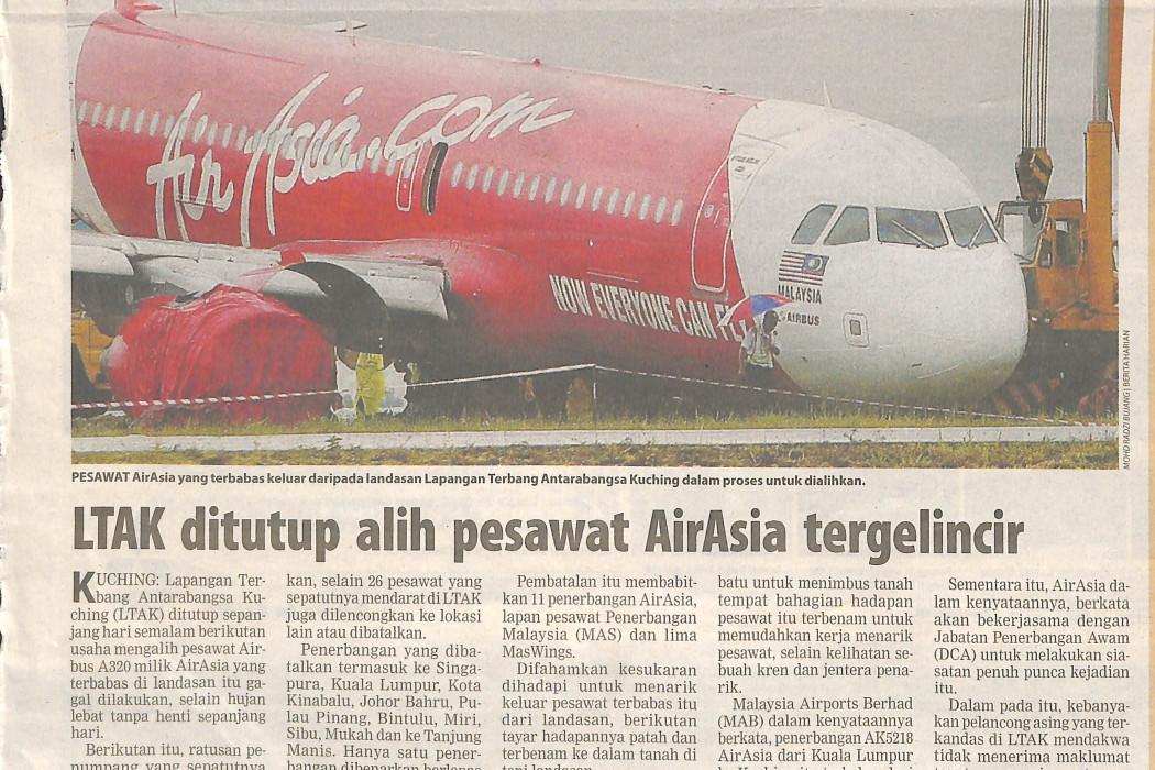 LTAK ditutup alih pesawat airasia tergelincir
