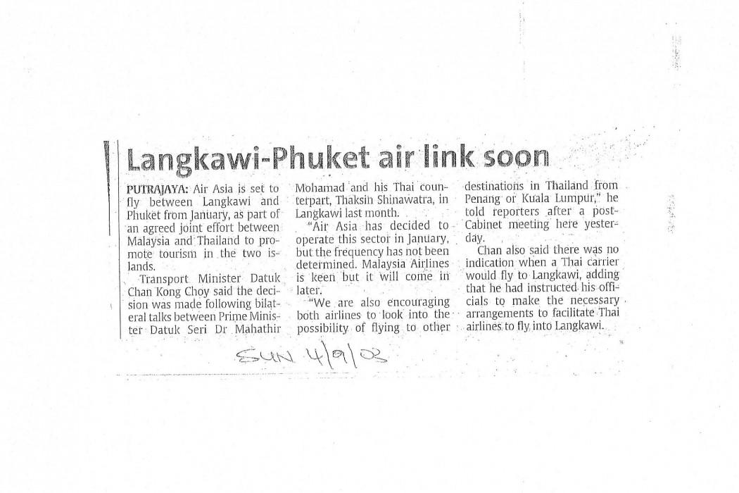 Langkawi-Phuket air link soon