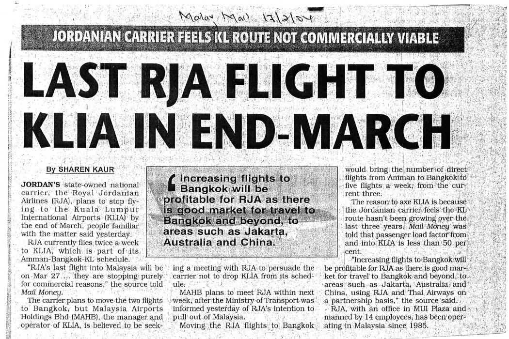 Last RJA flight to KLIA in End-March