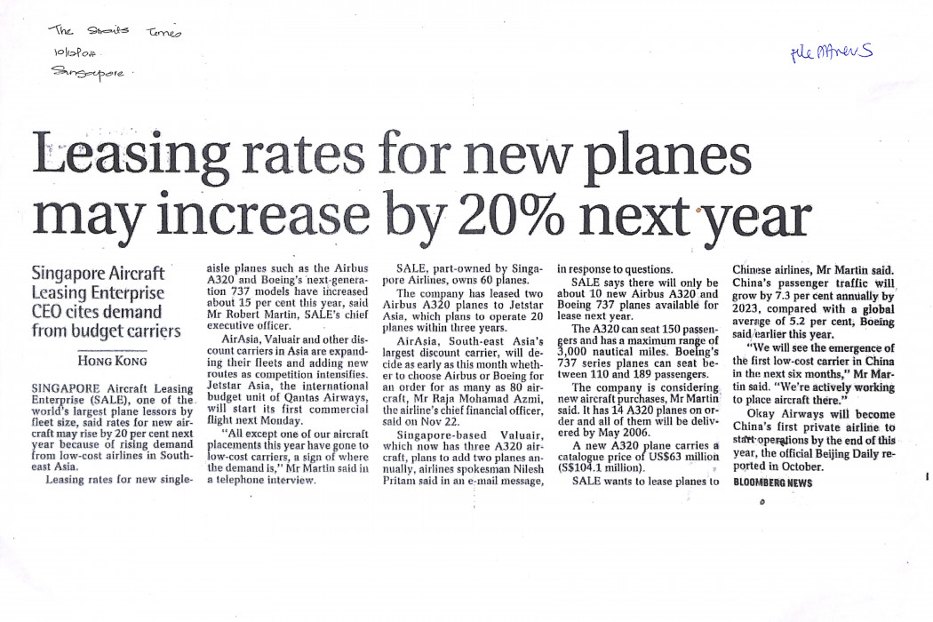 Leasing rates for new planes may increase by 20% next year