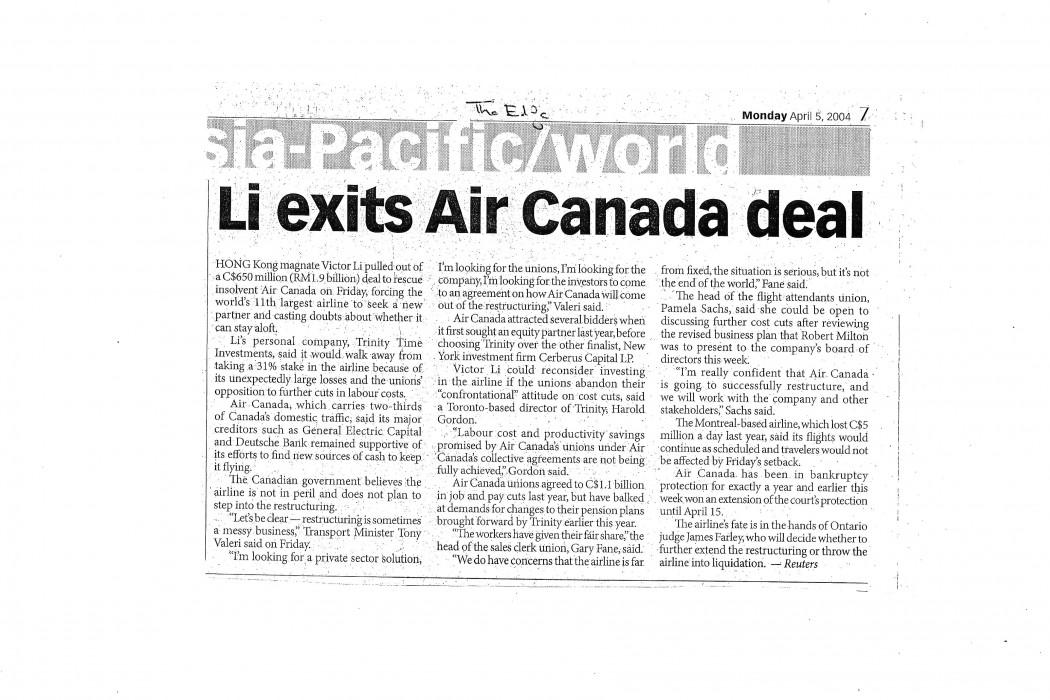 Li exits Air Canada deal