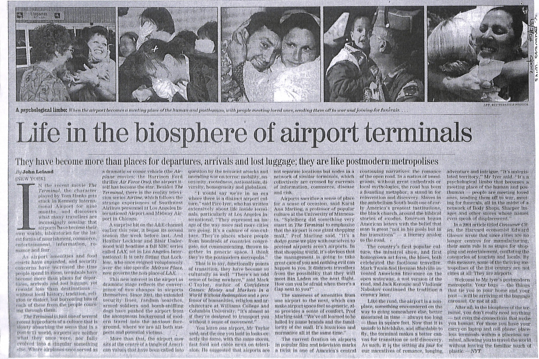 Life in the biosphere of airport terminals
