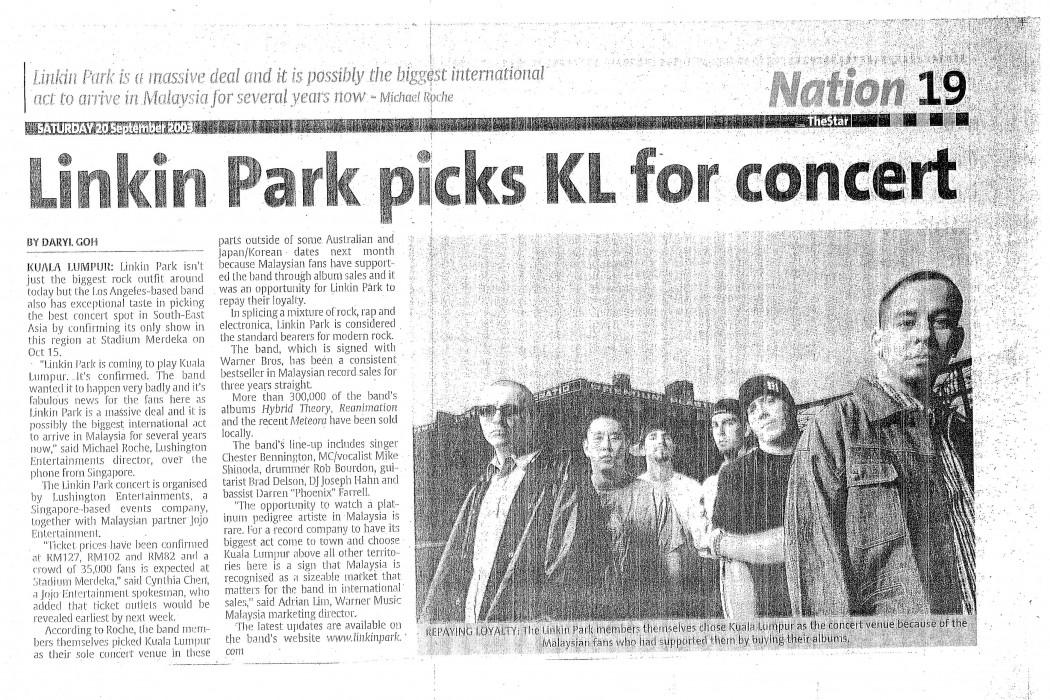 Linkin Park picks KL for concert