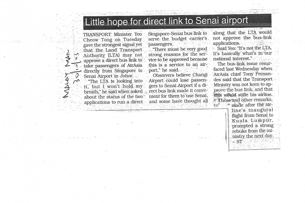 Little hope for direct link to Senai airport
