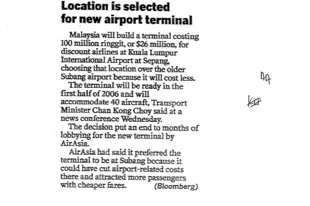 Location is selected for new airport terminal