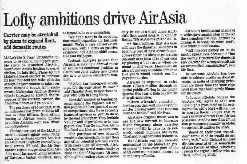 Lofty ambitions drive airasia