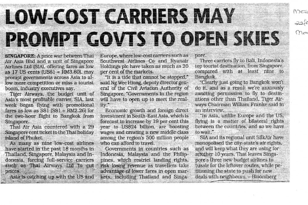 Low Cost carriers may prompt govts to open skies