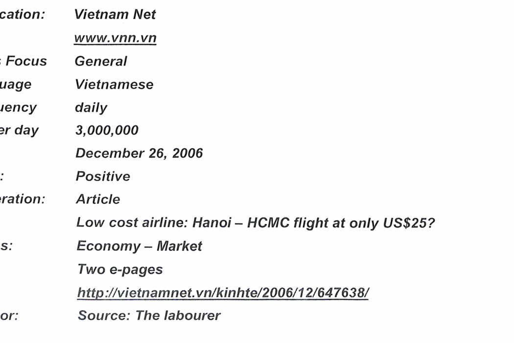 Low cost airline Hanoi - HCMC flight at only US$25 (1)