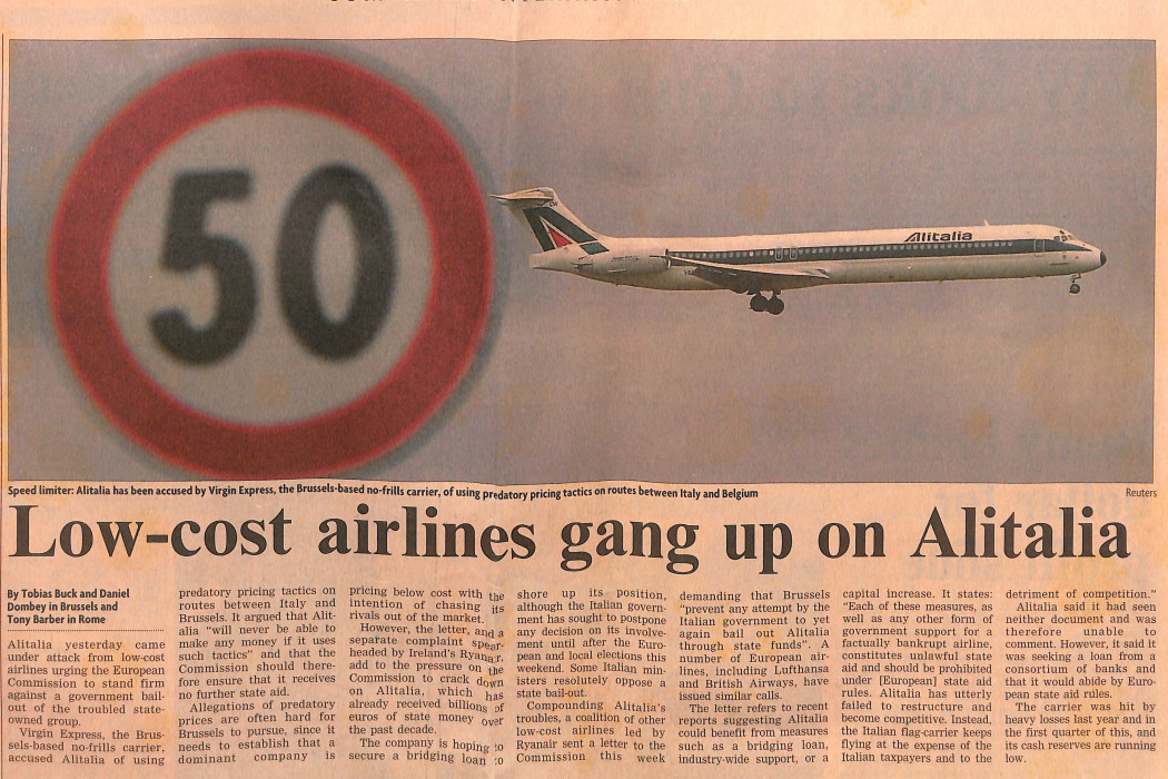 Low-cost airlines gang up on Alitalia