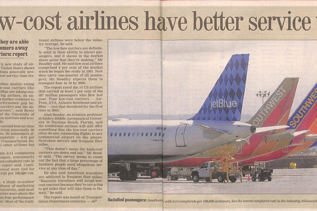 Low-cost airlines have better service too