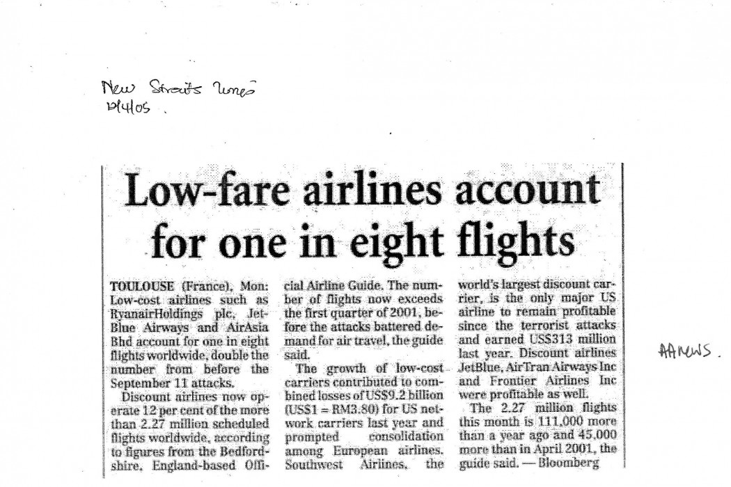 Low-fare airliines account for one in eight flights
