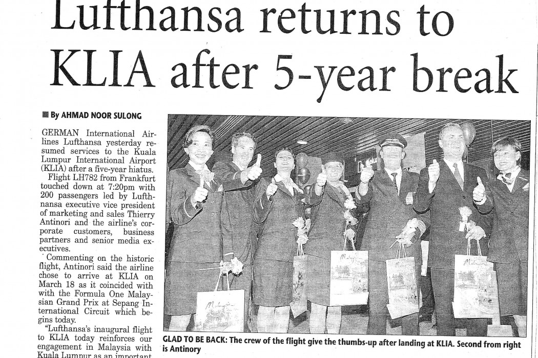 Lufthansa returns to KLIA after 5-year break