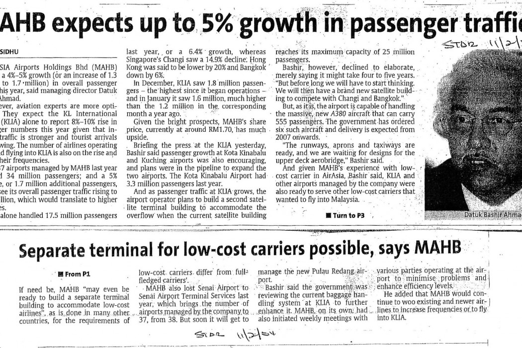 MAHB expects up to 5% growth in passenger traffic
