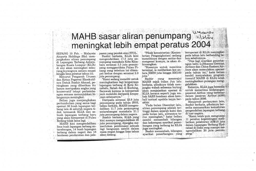 MAHB sasar aliran penumpang meningkat lebih empat peratus 2004