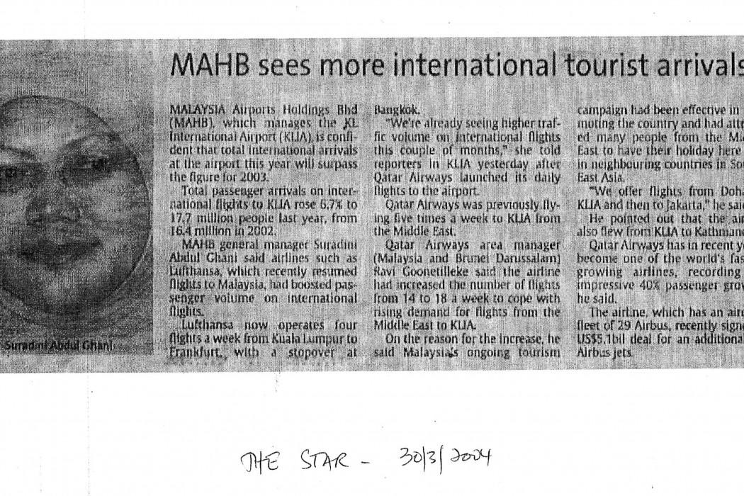 MAHB sees more international tourist arrivals