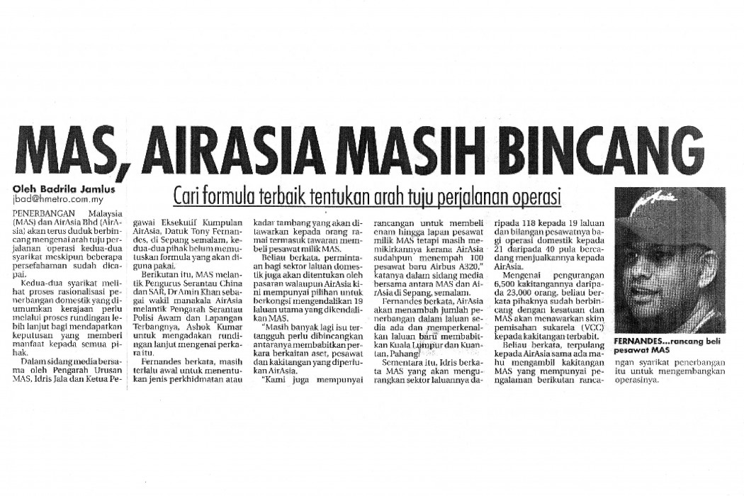 MAS, airasia Masih Bincang