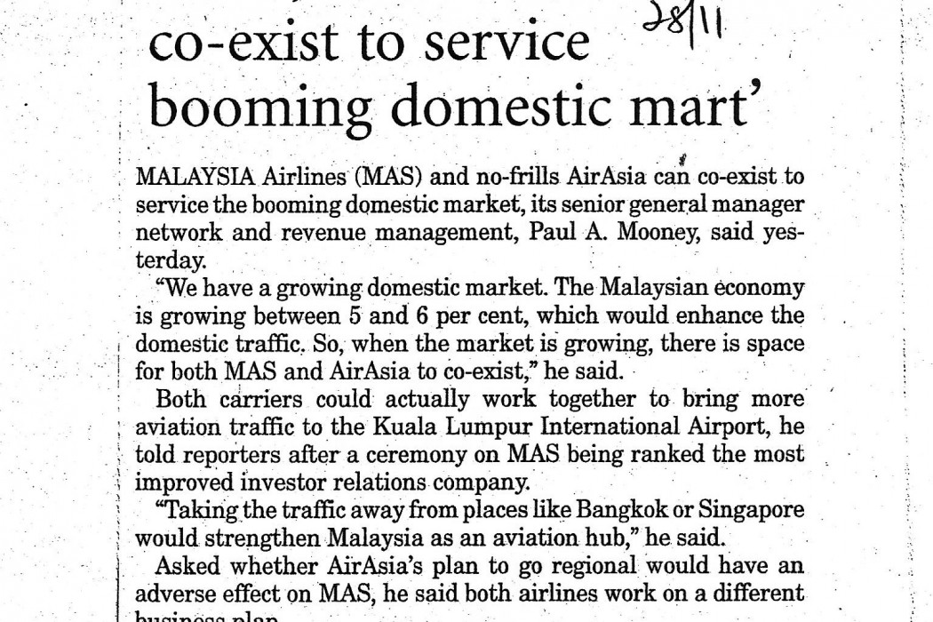 MAS, airasia can co-exist to service booming domestic mart' - 01
