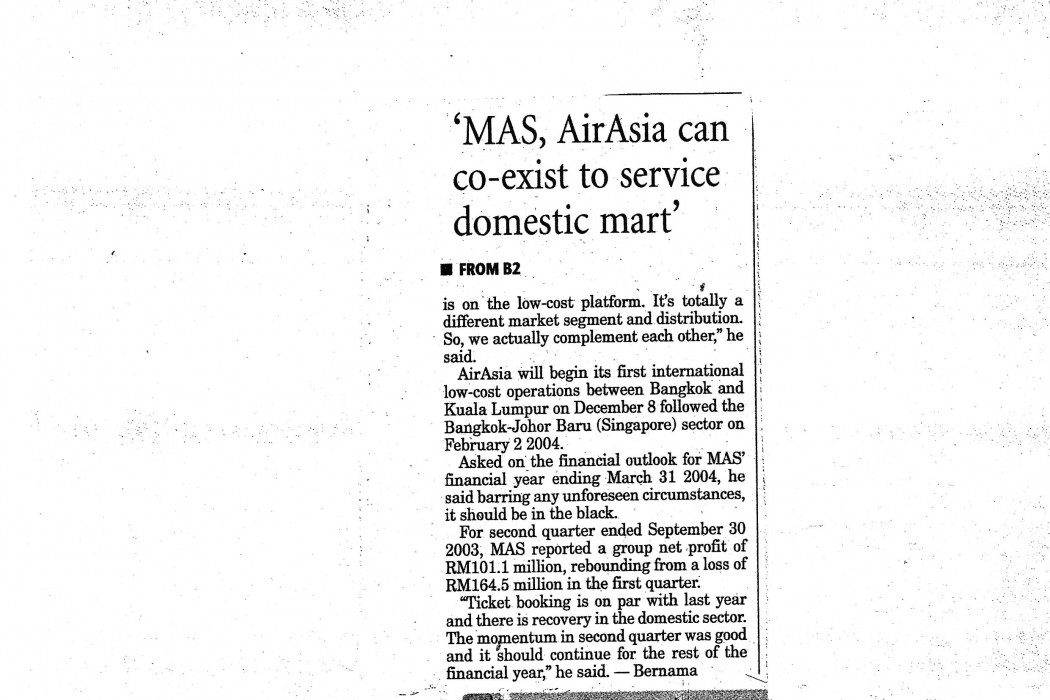 MAS, airasia can co-exist to service booming domestic mart' - 02