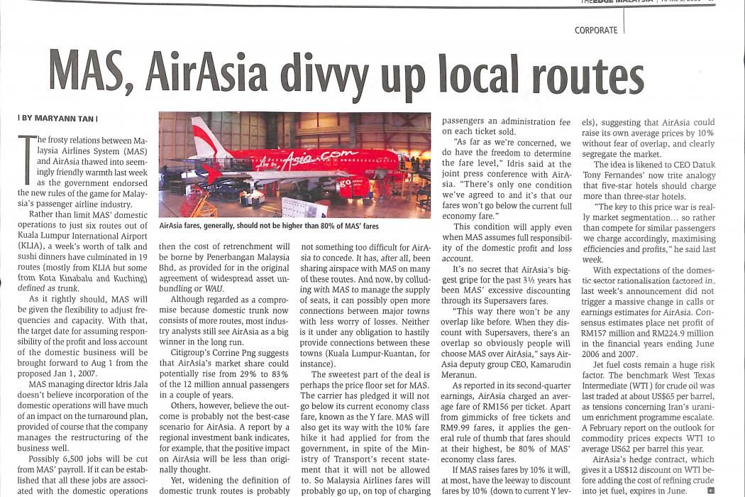 MAS, airasia divvy up local routes