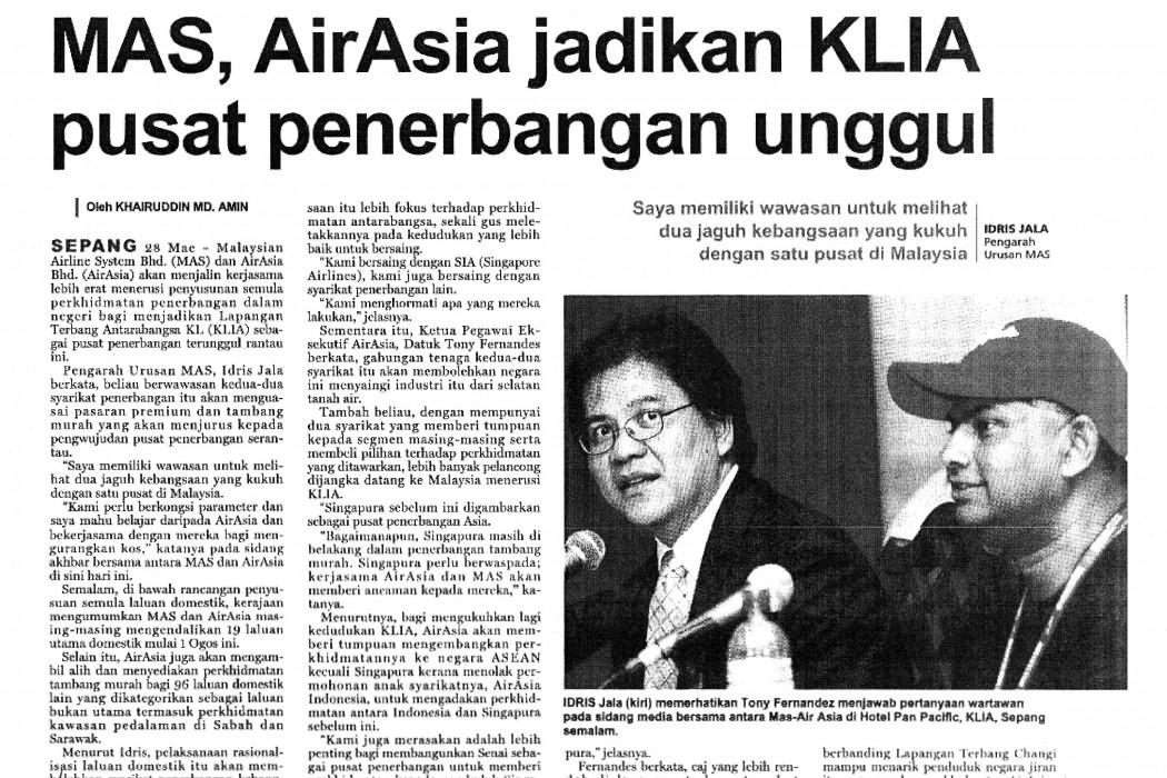MAS, airasia jadikan KLIA pusat penerbangan unggul