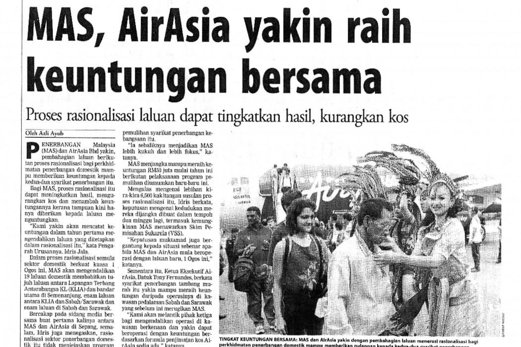 MAS, airasia yakin raih keuntungan bersama