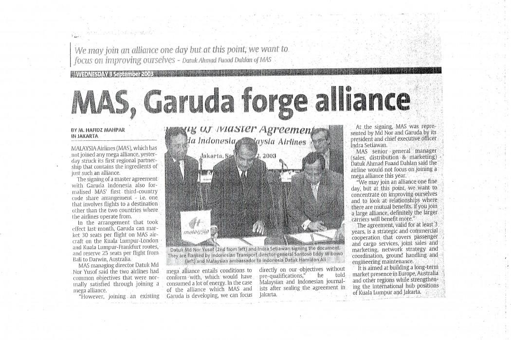 MAS, Garuda forge alliance
