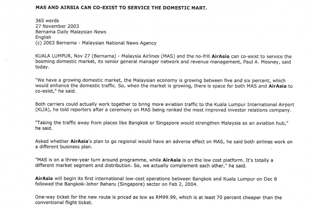 MAS and airasia can co-exist to service the domestic mart
