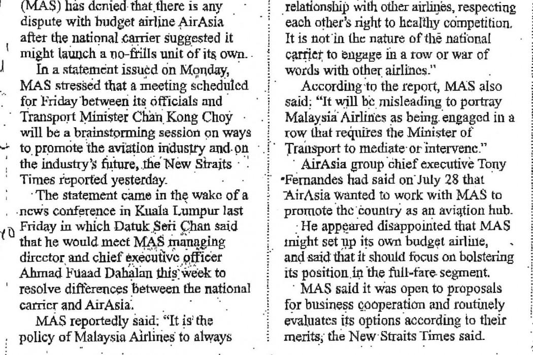 MAS denies row with airasia