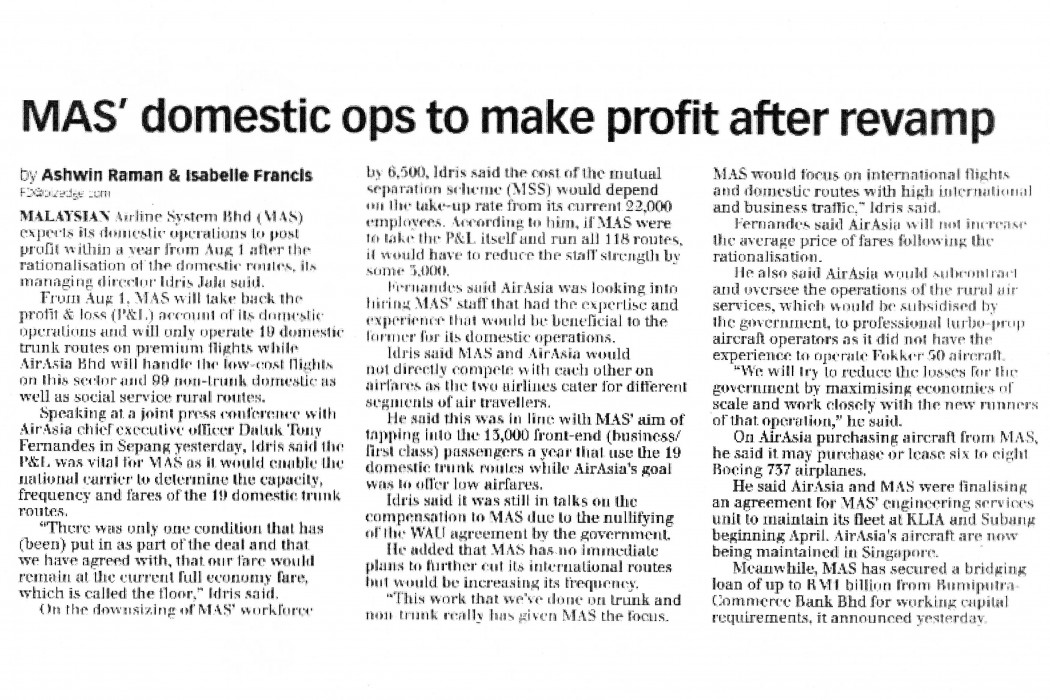 MAS' domestic ops to make profit after revamp